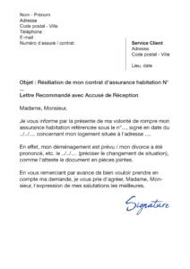 lettre de résiliation assurance habitation gmf