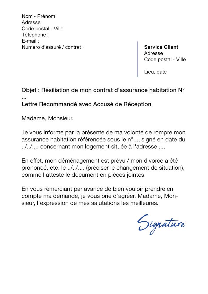 Lettre De Resiliation Assurance Habitation Gmf Modele De Lettre Gratuit