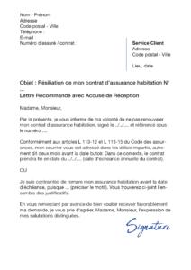 lettre de résiliation assurance habitation groupama