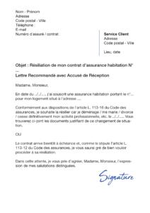 lettre de résiliation assurance-habitation la banque postale