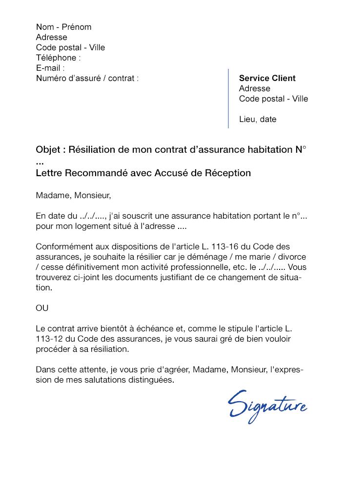 Lettre De Résiliation Assurance Habitation La Banque Postale