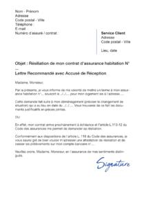 lettre de résiliation assurance habitation lcl