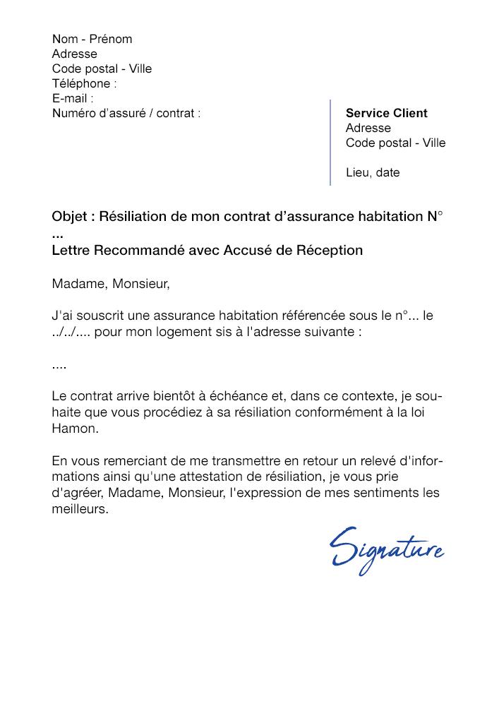 Lettre De Résiliation Assurance Habitation Macif Modèle De