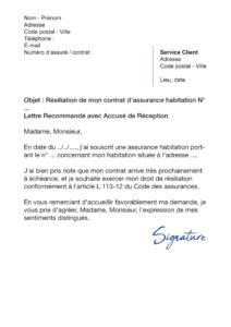 Résilier une Assurance Habitation - Modèles de lettre de résiliation
