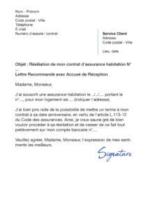 lettre de résiliation assurance habitation pacifica