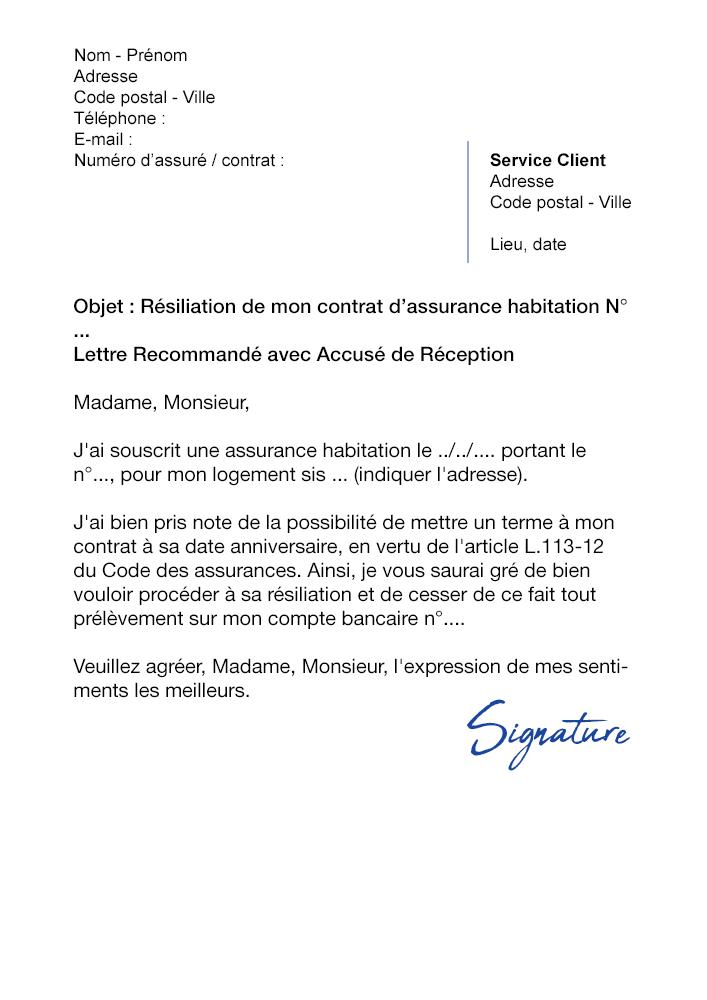 lettre de r u00e9siliation assurance habiation pacifica
