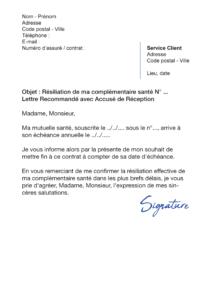 lettre de résiliation assurance santé à échéance