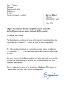 lettre de résiliation assurance santé cause acs css