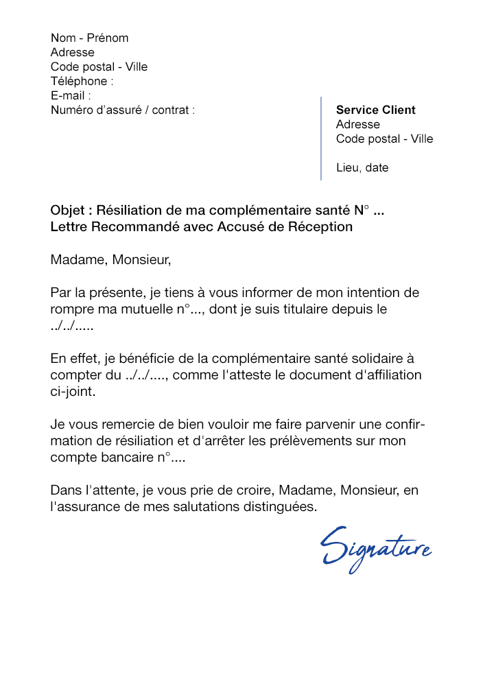 lettre de r u00e9siliation mutuelle  cause acs et css
