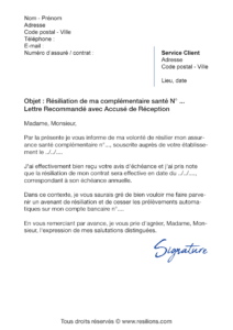 lettre de résiliation assurance santé allianz