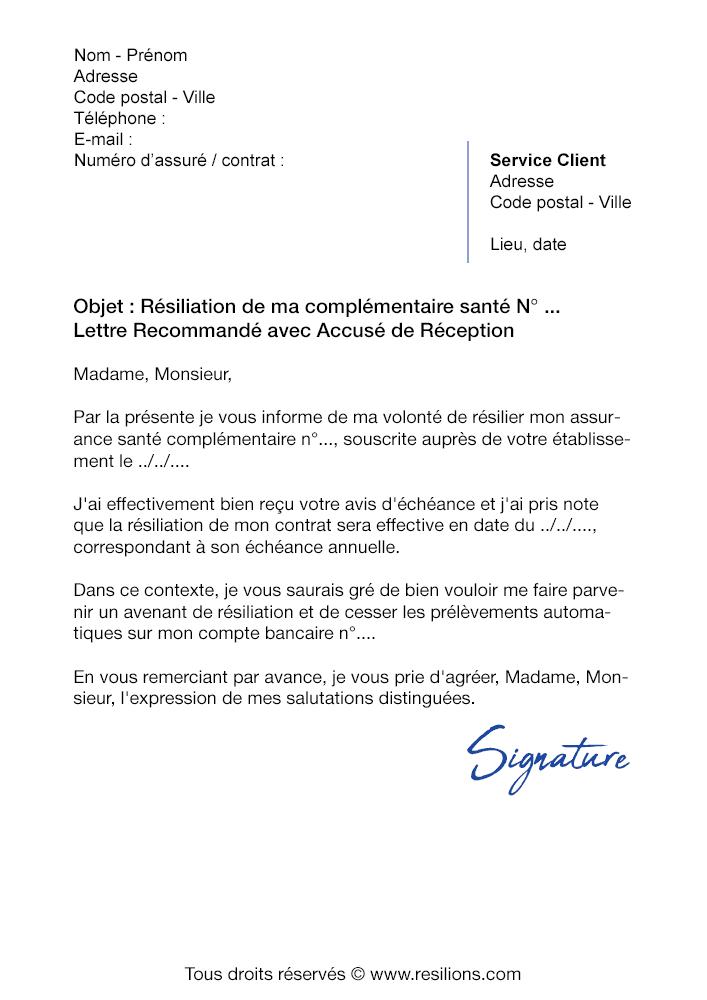 Lettre de résiliation Mutuelle Allianz - Modèle gratuit PDF et Word