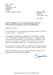lettre de résiliation assurance santé apivia