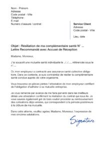 lettre de résiliation assurance santé avant échéance