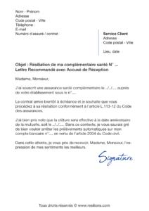 lettre de résiliation assurance santé axa