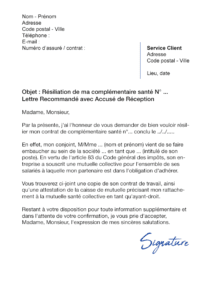 lettre de résiliation assurance santé cause adhésion conjoint