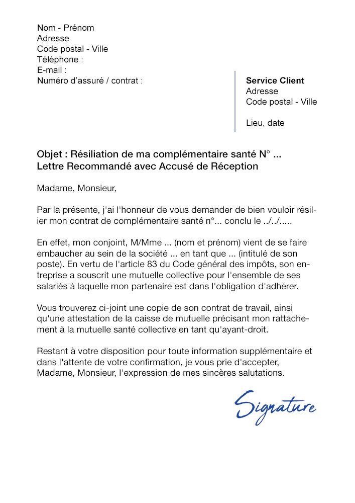 lettre de r u00e9siliation mutuelle  cause adh u00e9sion obligatoire conjoint