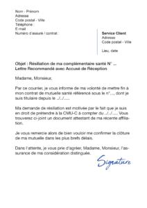 lettre de résiliation assurance santé cause adhésion Couverture maladie universelle complémentaire