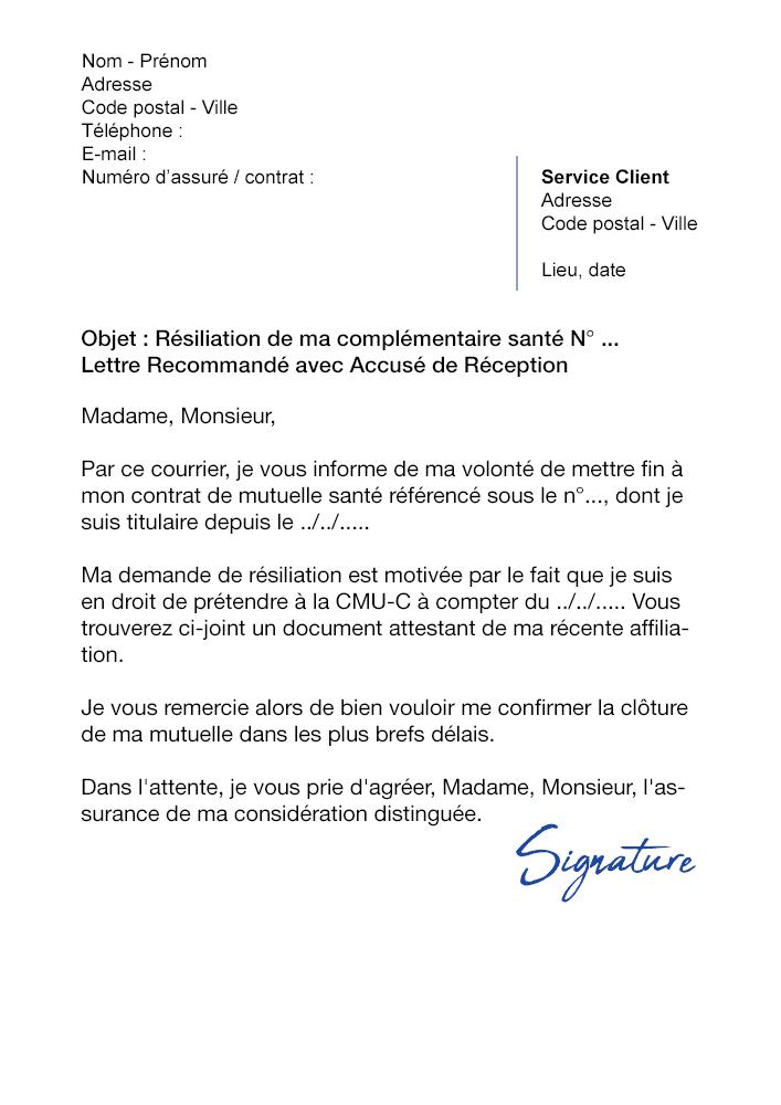 lettre de r u00e9siliation mutuelle  cause adh u00e9sion cmu