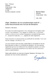 lettre de résiliation assurance santé changement de situation
