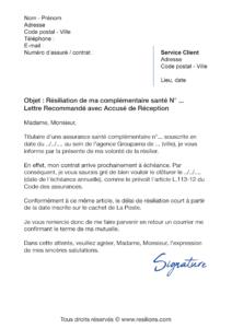 lettre de résiliation assurance santé groupama