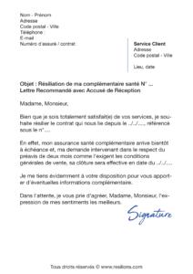 lettre de résiliation assurance santé harmonie mutuelle