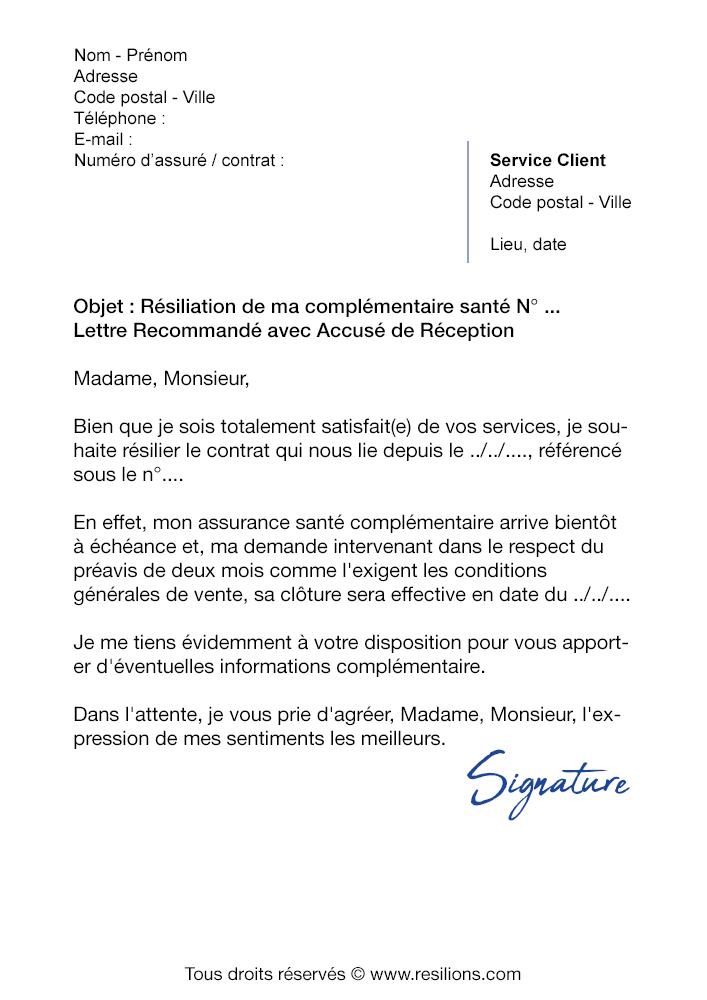 lettre de r u00e9siliation assurance sant u00e9 harmonie mutuelle