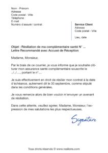 lettre de résiliation assurance santé lmde