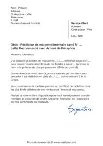 lettre de résiliation assurance santé loi chatel