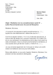 lettre de résiliation assurance santé maaf