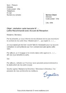 lettre de résiliation carte bancaire (cb)