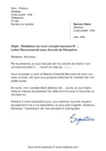 lettre de résiliation la banque postale
