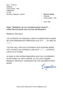 lettre de résiliation assurance santé macif