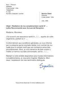 lettre de résiliation assurance santé mgen