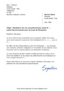 lettre de résiliation assurance santé mma