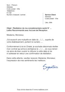 lettre de résiliation assurance santé pacifica