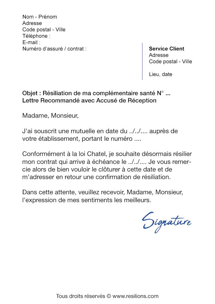 Lettre de résiliation Mutuelle Pacifica - Modèle gratuit PDF et Word