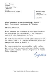 lettre de résiliation assurance santé uneo