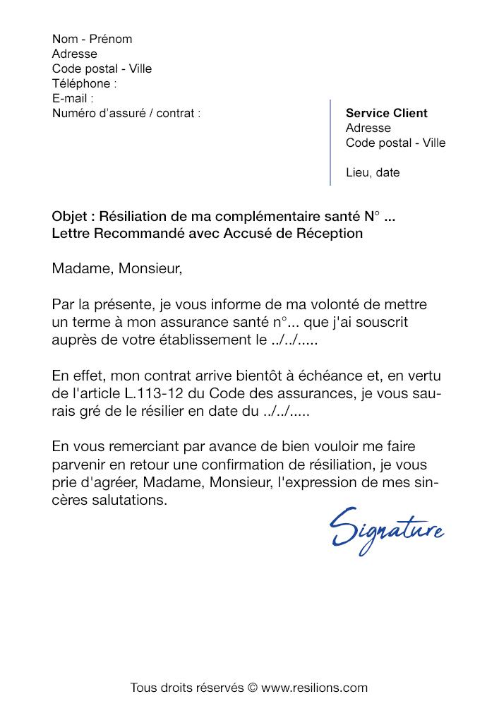 Lettre de résiliation Mutuelle Unéo - Modèle gratuit PDF et Word