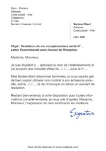 lettre de résiliation assurance santé vittavi