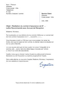 lettre de résiliation assurance vie allianz