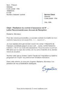 lettre de résiliation assurance vie axa