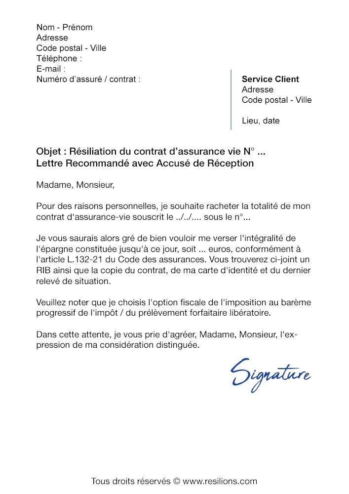 Lettre de résiliation Assurance Vie AXA - Modèle gratuit PDF et Word