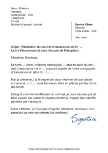 lettre de résiliation assurance vie suite à un décès