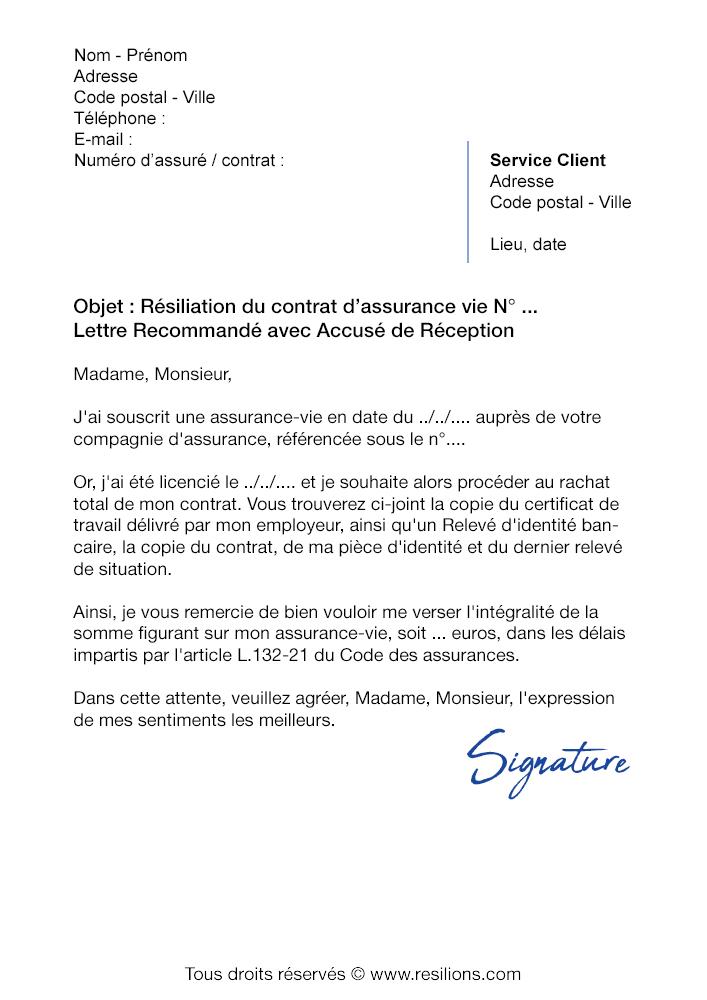 Lettre de résiliation Assurance Vie GMF - Modèle gratuit PDF et Word