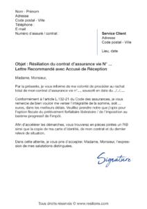 lettre de résiliation assurance vie rachat total du contrat
