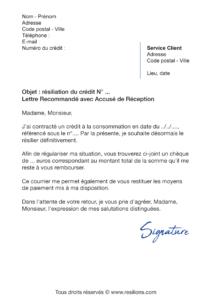 lettre de résiliation crédit à la consommation cetelem