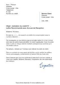 lettre de résiliation crédit à la consommation cofidis