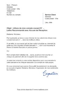 lettre de résiliation compte bancaire