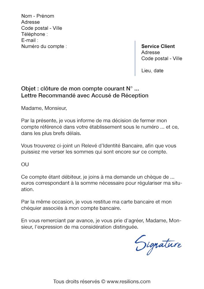 lettre de r u00e9siliation cr u00e9dit agricole  compte courant