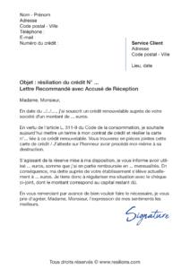 lettre de résiliation crédit renouvelable